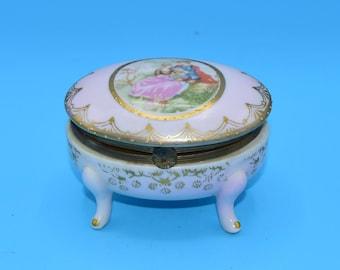 Arnart Ceramic Victorian Trinket Box FREE SHIPPING Vintage Japan Hinged Porcelain Jewelry Holder Gold Trim Shabby Chic Decor Vanity Dresser