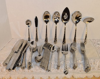Oneida Community Pacific Tide 84 pc Flatware Set Vintage Service for 10 Piece Place Setting Stainless Discontinued Cutlery Hard to Find