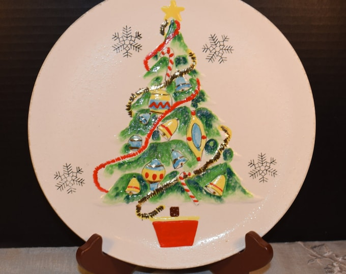 Featured listing image: Christmas Tree Norcrest Plate Vintage Norcrest Japan 3D Christmas Tree Hanging Plate Made In Japan Christmas Decoration Kitsch Holiday Decor