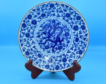 Fitz and Floyd Blue Dragon Plate Vintage Japan Dragon Flowers Hanging Plate Dragon Decor Gift for Her Wedding Decor Gift FREE SHIPPING