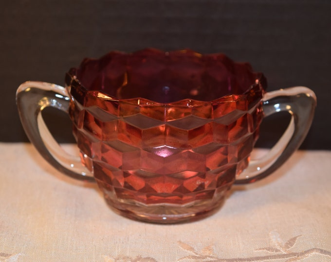 Featured listing image: Cranberry Flash Glass Sugar Bowl Double Handle Vintage Diamond Block Ruby Red Glass Sugar Bowl Gift for Her Mom Mother Wife Friend Hostess