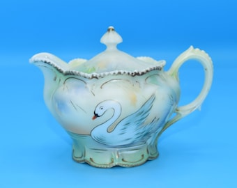 Genuine Red Mark R S Prussia Swan Teapot Vintage Small Art Nouveau Painted Swan Prussia Porcelain Gold Detail Beading FREE SHIPPING