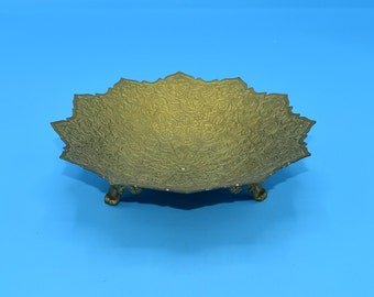 Brass India Embossed Small Bowl Vintage Floral Engraved Scalloped Edge Trinket Dish Moroccan Boho Decor Hollywood Regency FREE SHIPPING