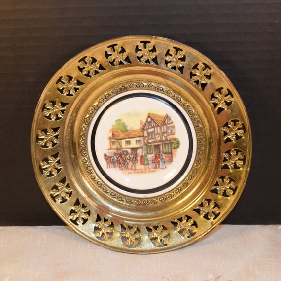 Regency Bone China and Brass Wall Plate Vintage Old Coach House Brass Framed Plate English Village English Tavern Pub Decor Made in England