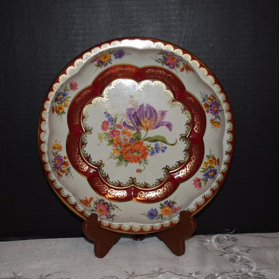 Daher Decorated Ware Metal Tray Vintage Dresden Style Floral Metal Bowl Made in England 1970s Metal Round Serving Bowl English Decor