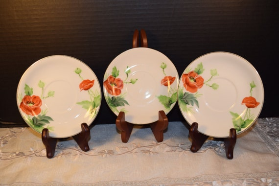Hand Painted Union China Saucers Vintage Set of 3 Saucer Plates Red Flowers Plates Discontinued Replacement Wedding Gift for Her Mothers Day