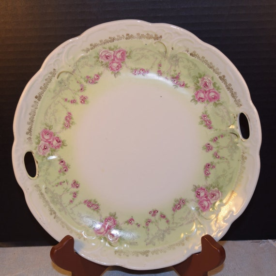 Floral Porcelain Tray Vintage Soft Green Pink Roses Gilding Double Handled Plate Wedding Decor Gift for Her Mothers Day Gift Valentine Gift