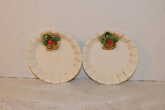 Christmas Butter Pat Plates Vintage Japan Christmas Holly Berry Bells Small Pair Candy Dish Holiday Trinket Tray Vanity Dresser Decor