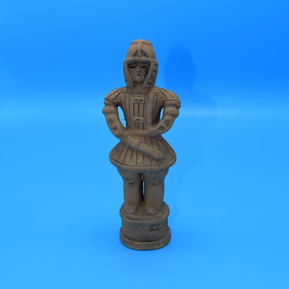Terracotta Warrior Small Statue Vintage Chinese Clay Incense Burner Statuette Warrior Figurine Gift for Him Man Cave Decor Groomsman Gift