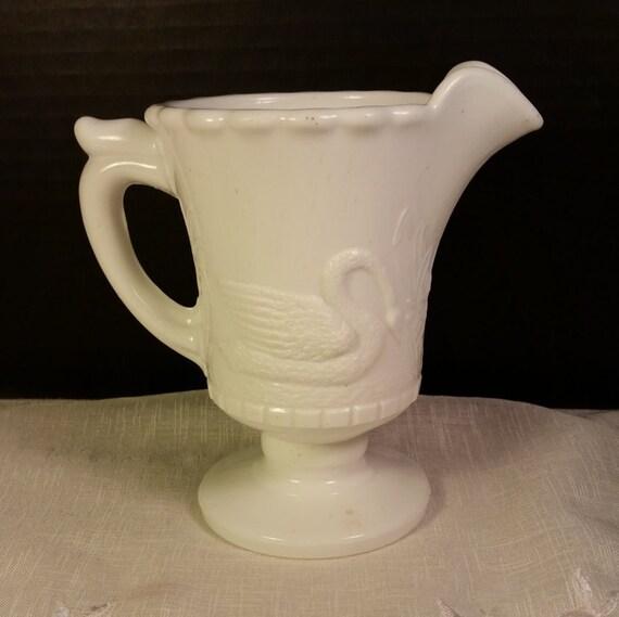 Atterbury Swan Milk Glass Creamer Vintage White Milk Glass Antique Early American 1880s Milk Glass Swan Greenery Pattern Collectible Glass