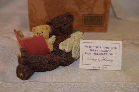 "Teddy Angels Figurine Vintage Retired 1995 Casey & Honey Teddy Bear Angels Original Box Booklet ""Friends are the Best recipe for Relaxation"""