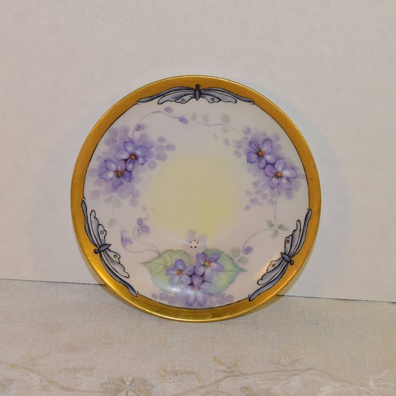 Purple Butterfly Saucer Vintage Shabby Chic Saucer Painted Purple Flowers Butterflies Gold Trim Afternoon Tea Floral Plate Gifts for Her