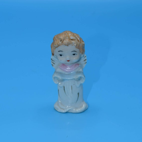 Angel Miniature Figurine Vintage Made in Japan Blonde Angel in White Gold Accents Christmas Decoration Cherub Figurine Gift for Her
