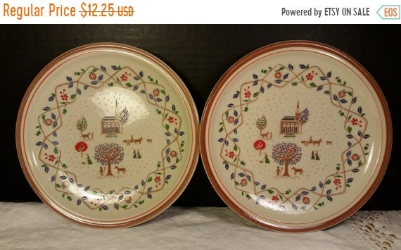 Sale Clearance Epoch Country Crewel 2 Salad Plates Vintage Farm Scene Plates Dishwasher Oven Microwave Safe Country Salad Lunch Plates Repla