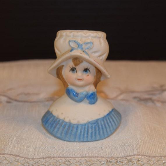 Blue Girl Mini Head Vase Vintage Ceramic Blue & White Bud Vase Miniature Little Girl Vase Little Girl's Room Decoration New Mother Gift
