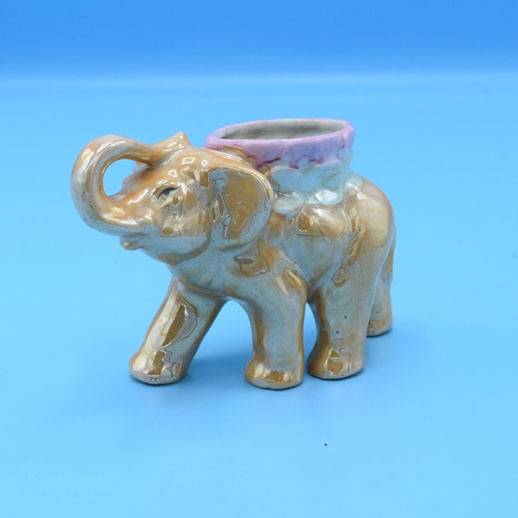 Elephant Small Planter Vintage Maruyama Toki Yamashiro Ryuhei Made in Japan Small Lucky Elephant Plant Holder Trunk Up Ceramic Novelty Gift