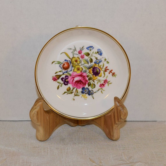 Royal Worcester Bournemouth Coaster Vintage Porcelain Floral Gilded Ashtray Shabby Chic Dish Vanity Dresser Trinket Bowl English Bone China