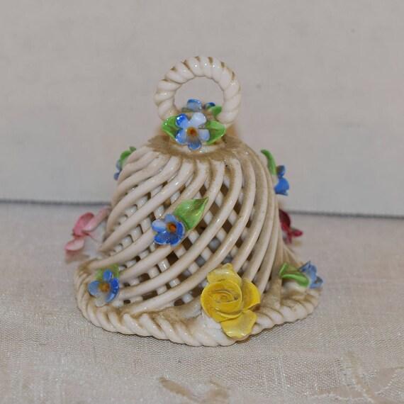 Lattice Porcelain Bell Vintage Sculpted Flowers Small Bell Ceramic Basket Weave Bell Capodimonte Style Vanity Dresser Decor Gifts for her