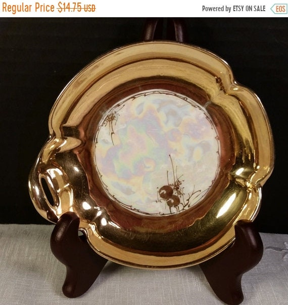 Sale Clearance Gold Iridescent Porcelain Ring Dish Vintage Trinket Tray Hand Painted Iridescent Made in Japan Side Handle Dresser Vanity Pin