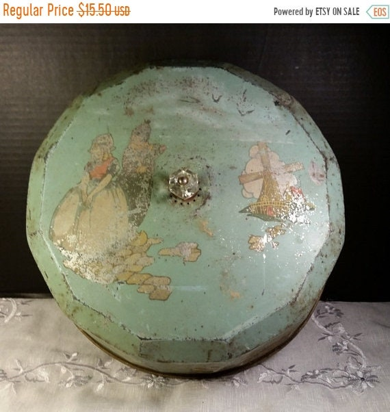 Sale Clearance Metal Cake Top Green Shabby Vintage Rusty Patina Windmill Seaside Boats Tin Cake Cover Farmhouse Kitchen Rustic Country Cotta