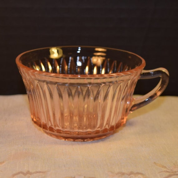 Pink Depression Glass Queen Mary Cup Vintage Anchor Hocking Pink Teacup Coffee Cup Shabby Chic Serving Ware Replacement Glass Wedding Decor