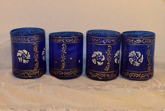 Bohemian Cobalt Blue Water Glasses Set of 4 Vintage Hand Painted Gilded Short 4 Tea Tumblers Bar Glasses 2 Sets Available Gift for Her