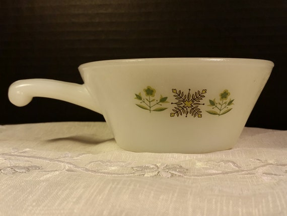 Anchor Hocking Fire King Meadow Green Soup Bowl Handle Vintage Milk Glass Chili Soup Bowl Ramekin Anchor Hocking Milk Glass Soup Bowl