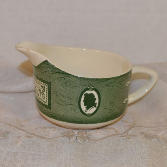 Royal China Colonial Homestead Creamer Vintage 1950s Americana Glazed 8 ounce Creamer Green & White Servingware Dinnerware Replacement