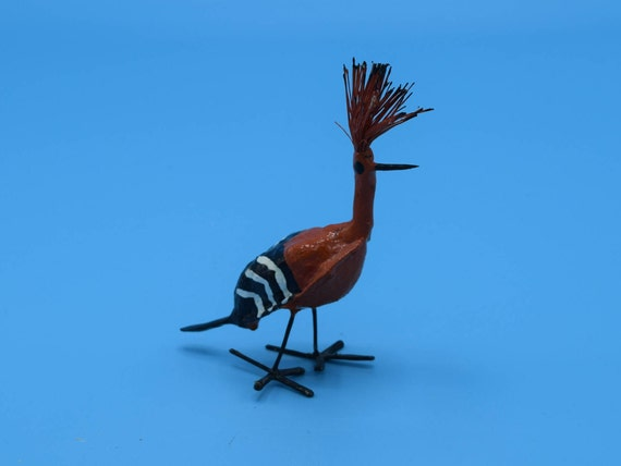 Miniature Paper Mache Road Runner Figurine Vintage Orange Black Roadrunner Bird Papermache Figure Mini Bird Statue Movie TV Prop