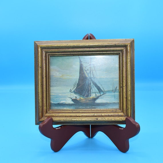 Gold Wood Framed Sailing Ship Picture Vintage FREE SHIPPING Small Nautical Art Print under Glass Maritime Wall Hanging Small Wall Art