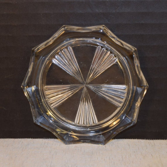 Reims France Glass Coaster Vintage Windmill Pattern Candle Holder Mid Century Drink Coaster Bar Cart Accessories Barware Cocktail Coaster