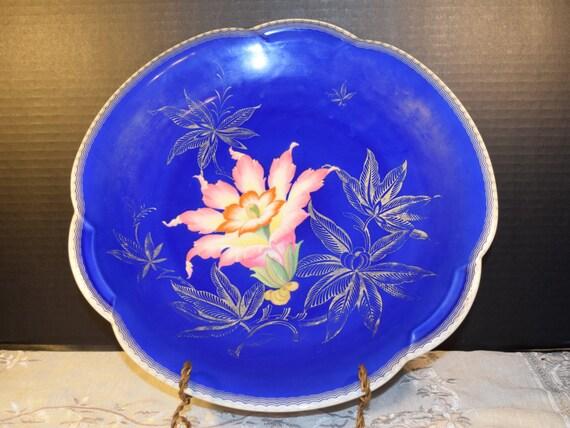 Bavaria Heinrich Selb Platter Vintage German Handgemalt Marcella Porcelain Dark Blue Platter Scalloped Edge Gift for Her Mothers Day Gift