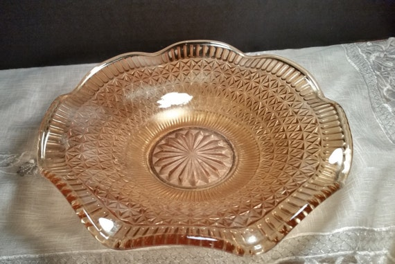 Indiana Glass Carnival Serving Dish Vintage Hostess Plate Carnival Glass Candy Dish Plate Amber Peach Colored Glass Servingware Gift for Her