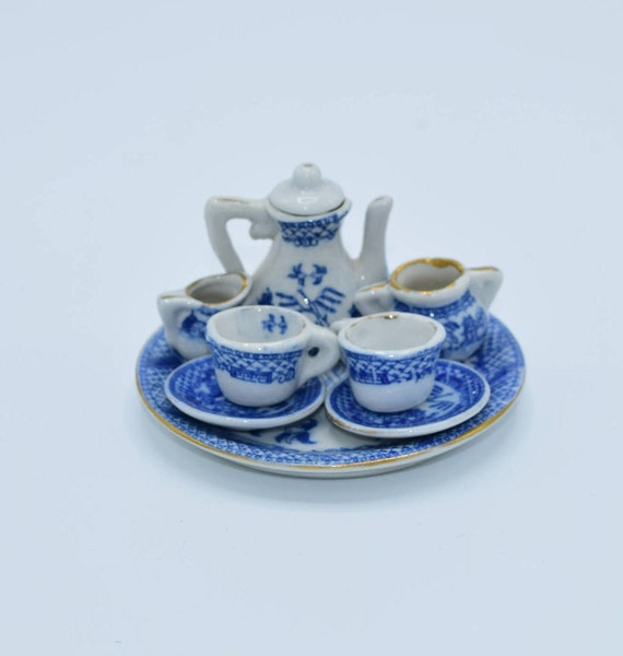 Blue Willow Child's Toy Tea Set 9 Pieces Vintage Miniature Blue & White Tea Set Dollhouse Tea Set Miniature Ceramic Tea Set Collectible