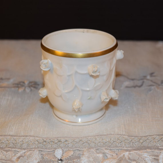 Vista Alegre Toothpick Holder Vintage Portugal Vista Alegre Mini Sugar Bowl Gilding 3D Porcelain Rose Buds Wedding Gift Mothers Day Gift