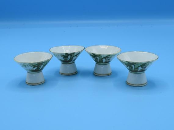 Bamboo Sake Cup Set of 4 Vintage Ceramic Gold Trim 4 piece Chopstick Rests Asian Soy Sauce Dipping Bowls Japan Barware Man Cave Decor