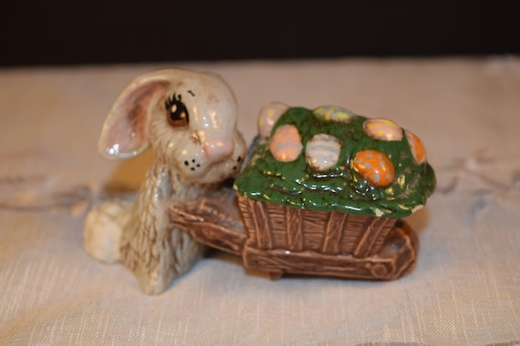 Easter Rabbit Pushing Cart of Easter Eggs Vintage Hand Painted Ceramic Easter Bunny with Wagon of Easter Eggs Easter Collectible Figurine