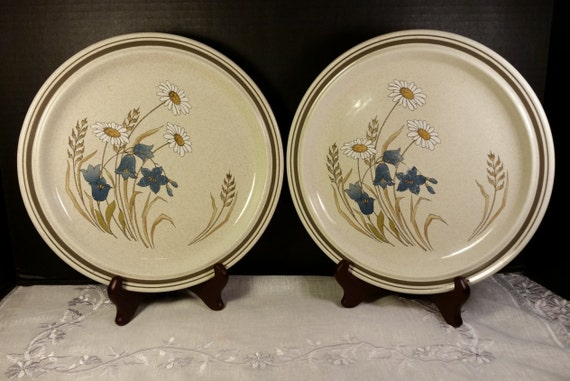 Hill Top by Royal Doulton Dinner Plates 2 Vintage Lambethware Made in England Tableware 1977 Dishwasher Freezer Oven Safe Blue White Flowers