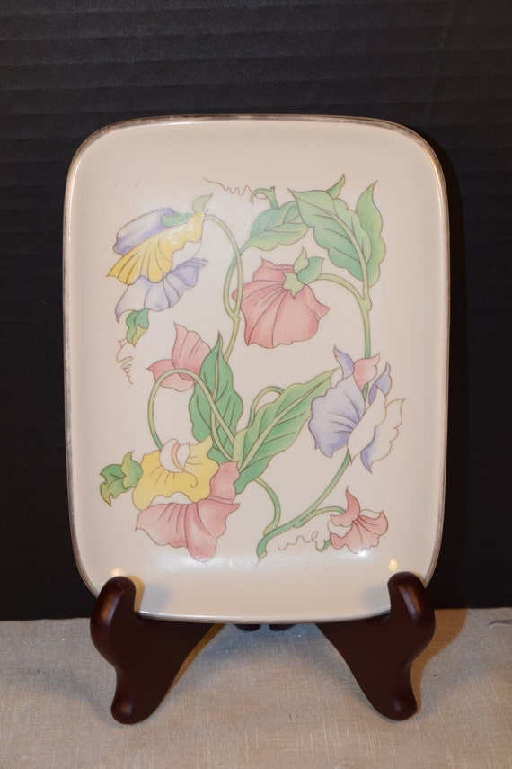 Ben Rickert Porcelain Floral Vanity Tray Vintage Floral Plate Soap Dish Dresser Tray Plate Made in Japan Gift for Her Mothers Day Gift