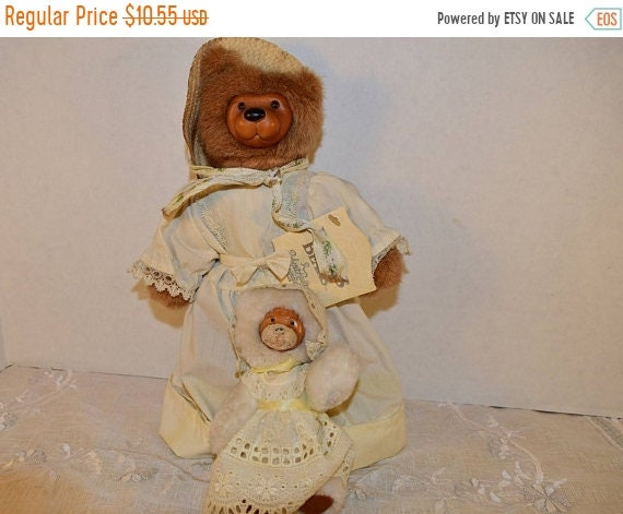 Sale Clearance Raike's Bears Charlotte & Toby Vintage 1990 Limited Edition Mother's Day Raike's Bears Mother and Baby Original Tag Shabby Ch