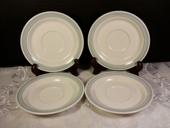Country Glen Sunny Meadows Saucers Vintage Set of 4 Saucers Japan Stoneware Blue & Cream Saucers Replacement China Oven Dishwasher Microwave
