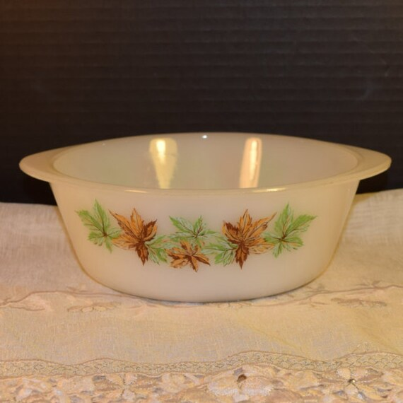 Glasbake J 512 Casserole Dish Vintage Autumn Fall Bakeware Made in USA White Milk Glass Serving Bowl Fall Leaves Holiday Bakeware