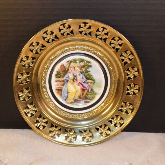 Love Story Regency Bone China Brass Wall Plate Vintage Courting Couple Brass Framed Plate English Tavern Pub Decor Made in England