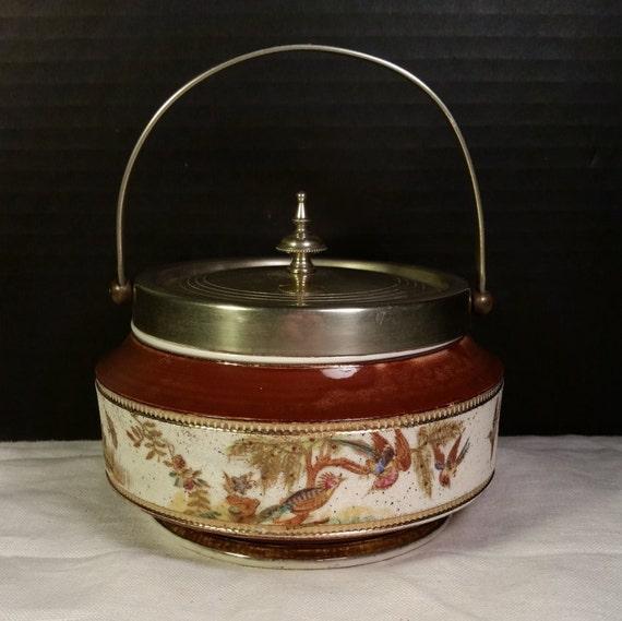 Asian Bird Biscuit Barrel Jar Vintage Sugar Coated Porcelain Biscuit Barrel 19th Century Ceramic Gift for Her Mothers Day Gift
