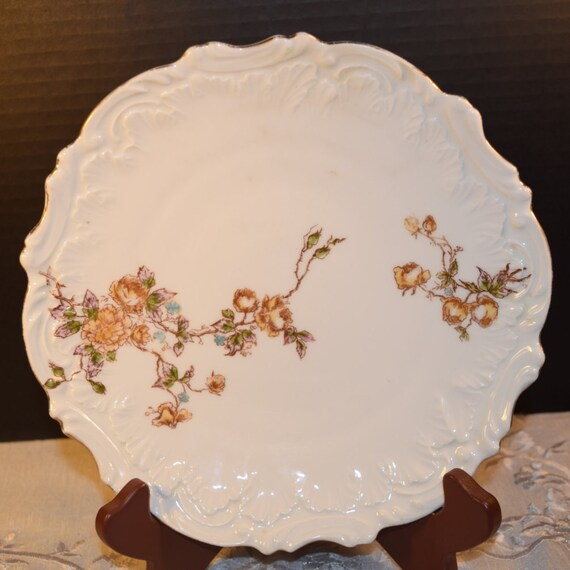 Fall Rose Embossed Plate Vintage Thanksgiving Autumn Rose Vine Decorative Plate Embossed Border Scalloped Rim Mothers Day Gift for Her