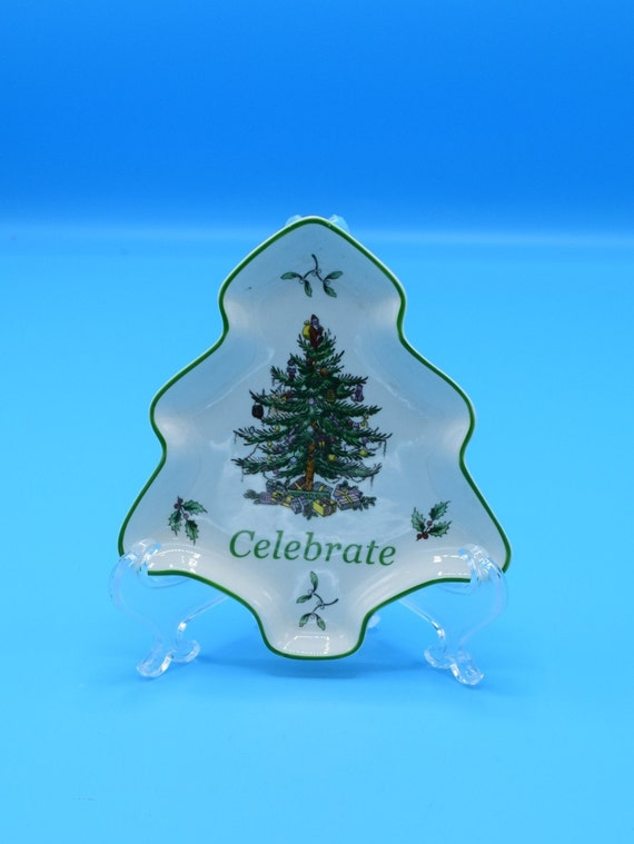 Spode Christmas Tree Celebrate Small Tray Vintage Christmas Tree Shaped Candy Nut Dish S3324 Green Trim Christmas Holiday Dinnerware