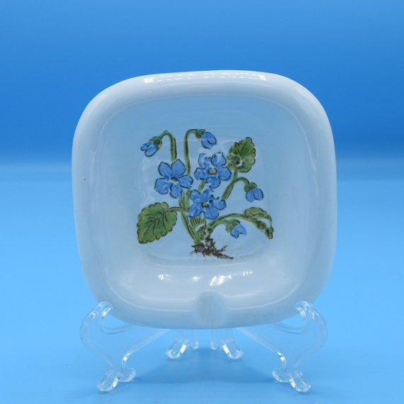 Paoli Ceramic Ashtray Vintage Italy Ashtray Forget Me Not Flowers Painted Single Ashtray Gift for Her Tobacciana Smoker Gift Free Shipping