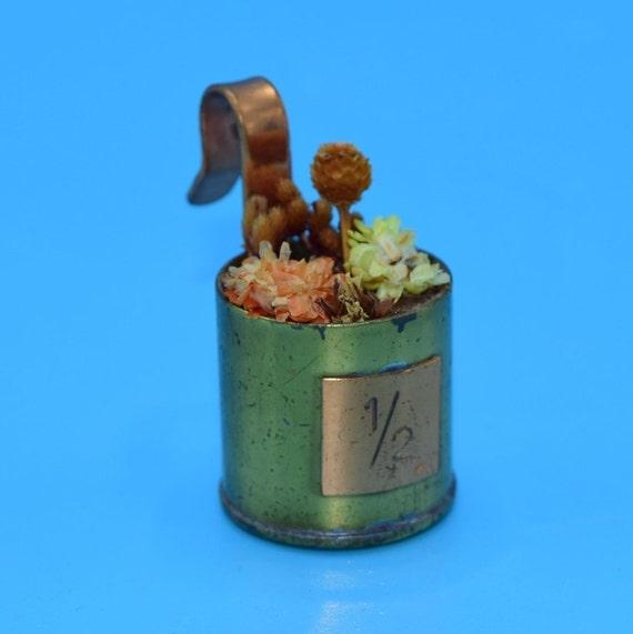KLM Miniature Copper Dried Floral Hanging Basket Vintage Copper Brass Dollhouse Flower Pot Hanging Copper Bucket Dutch Airline Souvenir