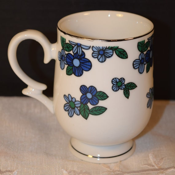 Royalton China RYT9 Mug Made in Japan Vintage Blue Flowers Platinum Trim Tall Coffee Tea Cup Cappuccino Mug Replacement China Mug Cup