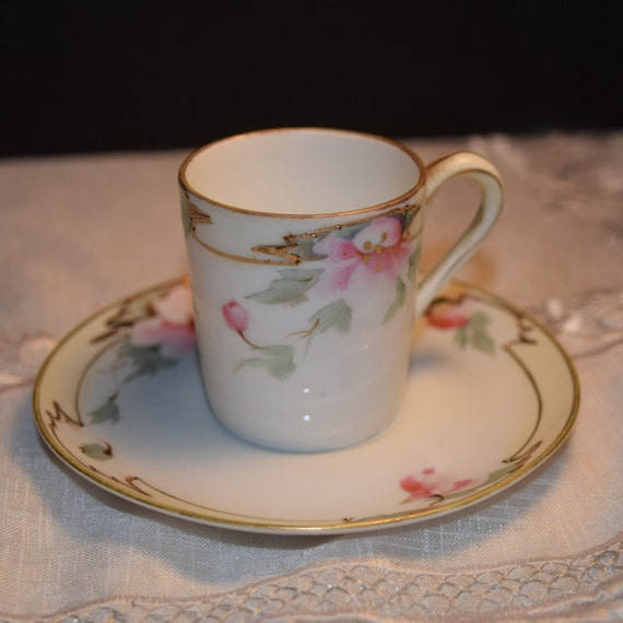 Cup & Saucer Pink Floral Set Vintage Shabby Chic Gilded Teacup and Saucer Afternoon Tea Party Rare Collectible Gift for Her Mothers Day